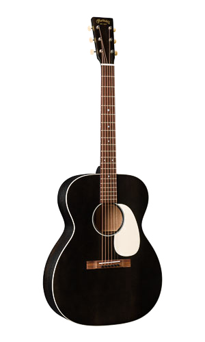 000-17 Black Smoke made of solid sitka spruce and mahogany with a satin black smoke finish with ivoroid binding, guard, and tuning buttons. $1,859.00