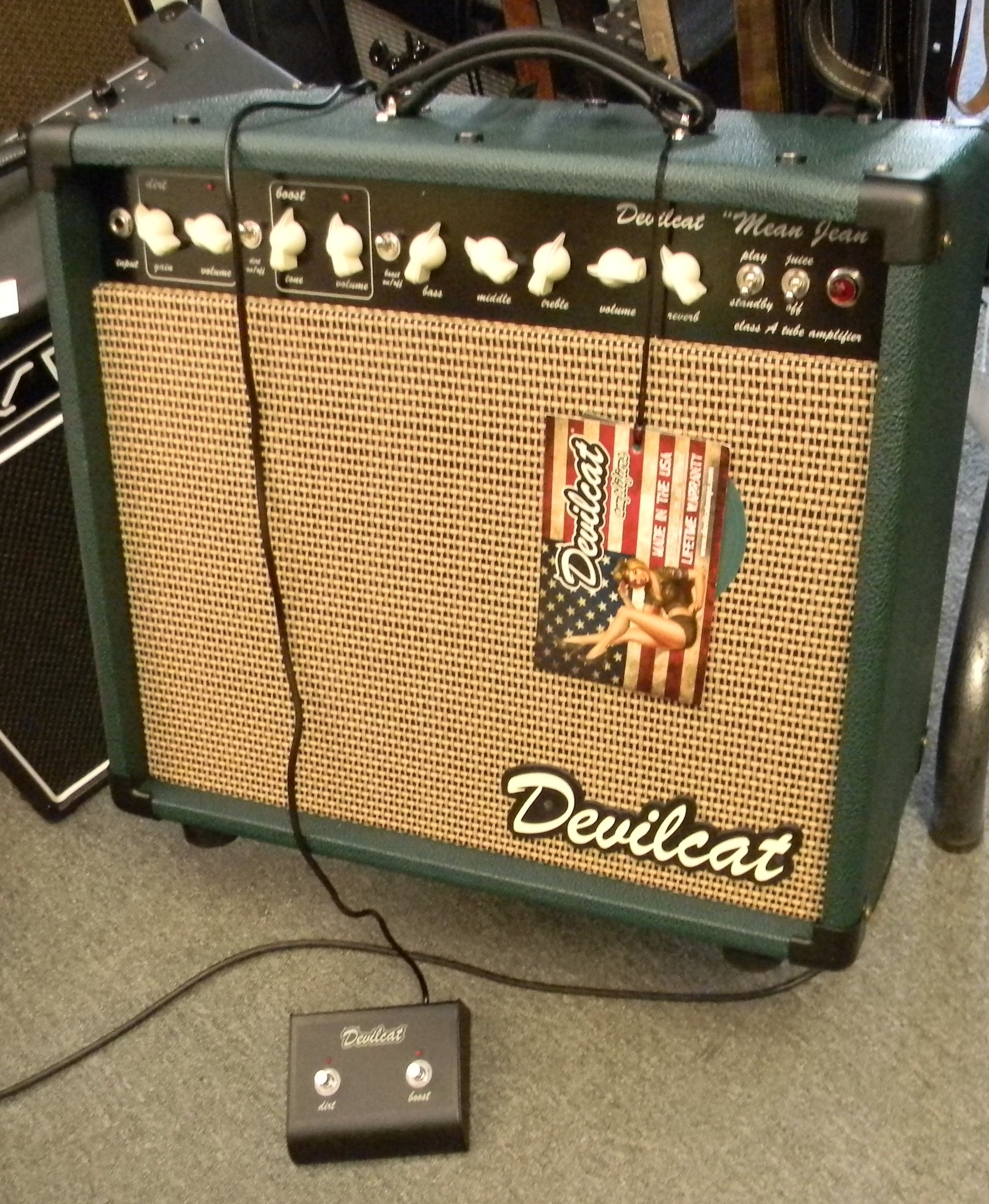 """Devilcat """"Mean Jean"""". 15 watts of American made tube driven power. 1X12"""" combo. $1,395.00"""