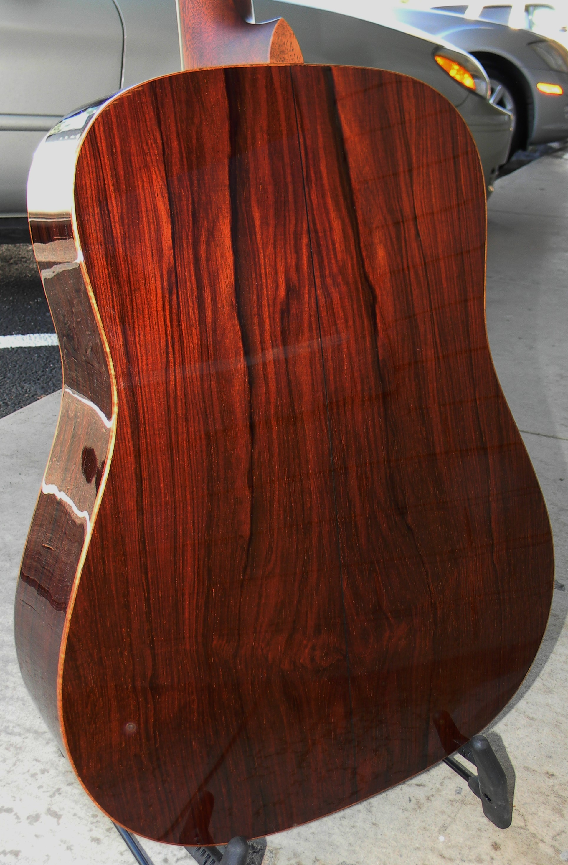 Incredibly gorgeous Guatemalan rosewood on the back of a Custom Shop dreadnought. $3,995.00