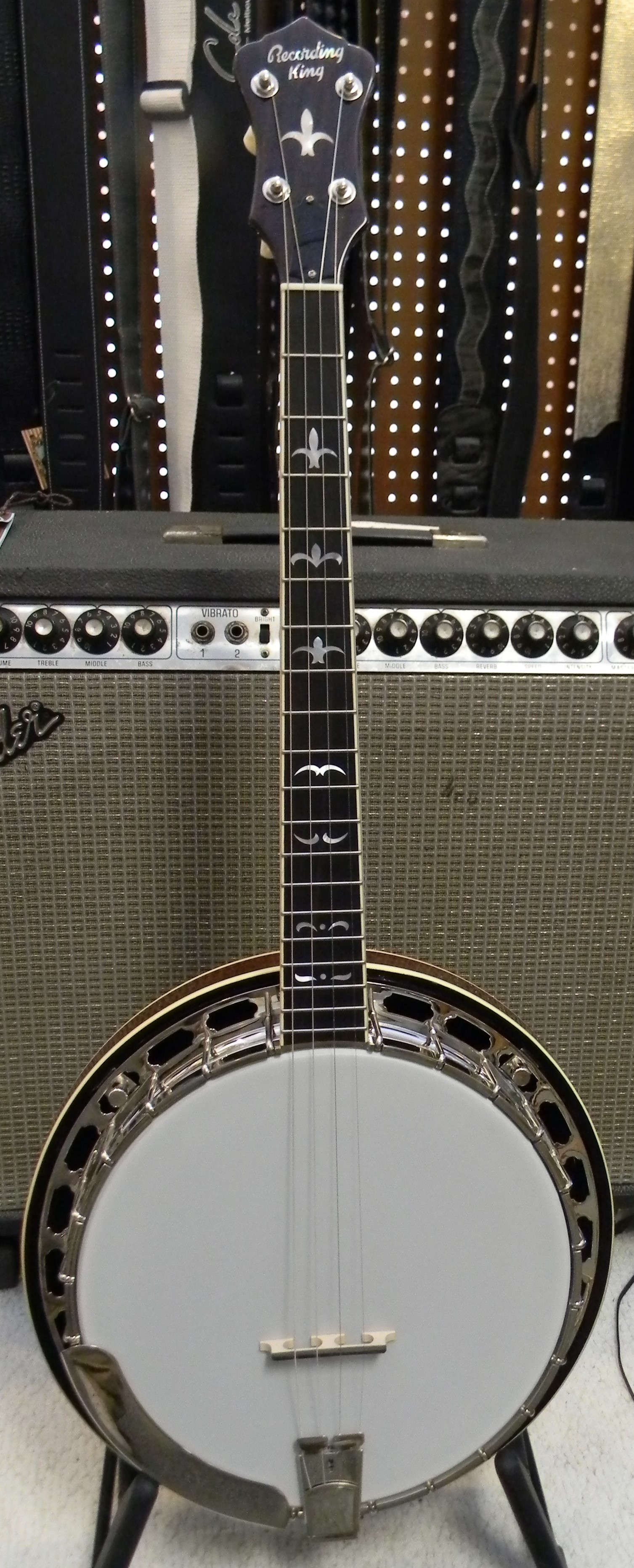Recording King RK R36 tenor banjo. This is a professional quality tenor for those who can't quite tke the plunge into an expensive USA made banjo. All the right componenets with maple rim, mahogany neck and resonator, brass Mastertone style tone ring, and nickel plated hardware. $995.00