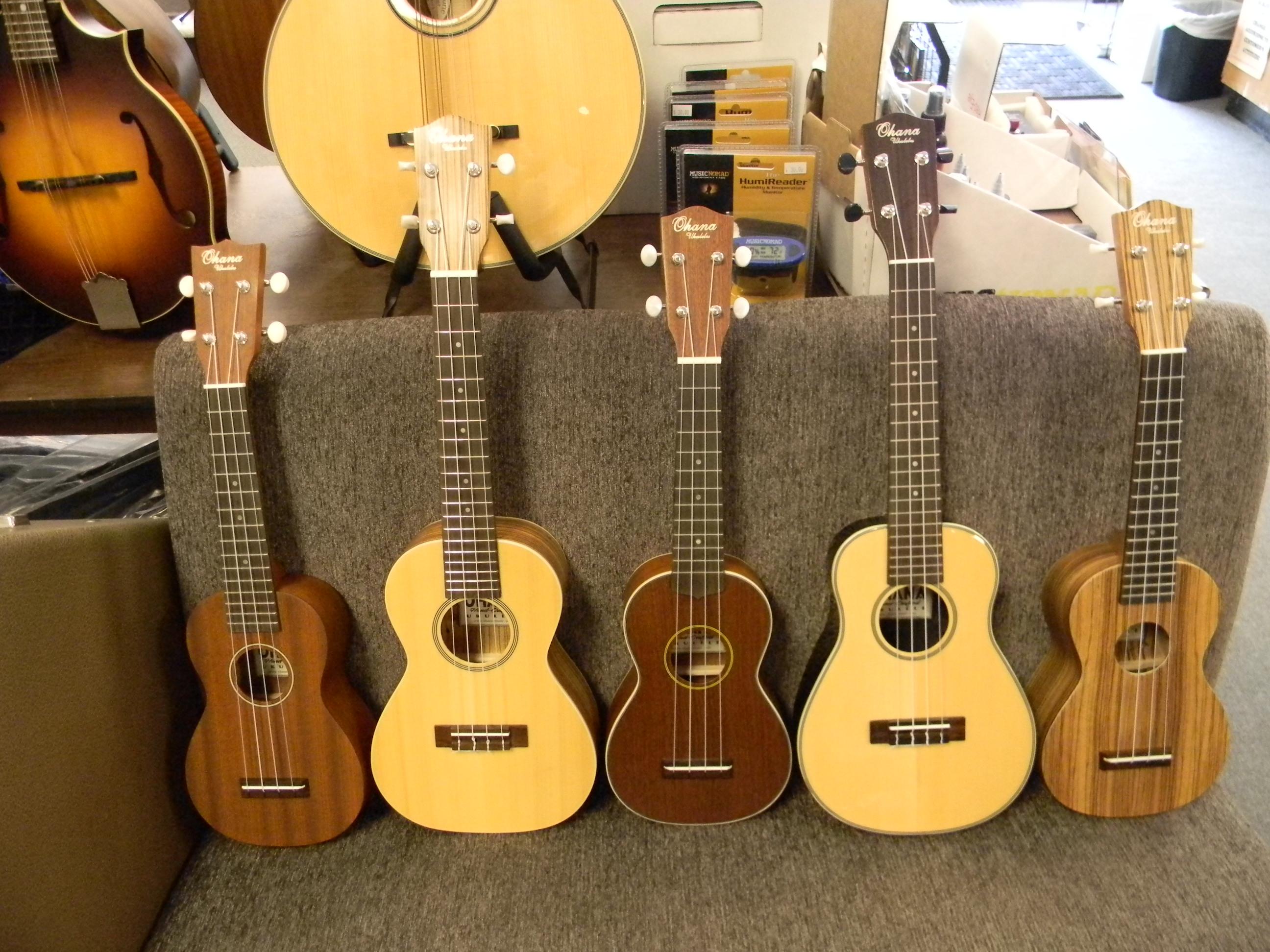 Ohana soprano and concert ukuleles.