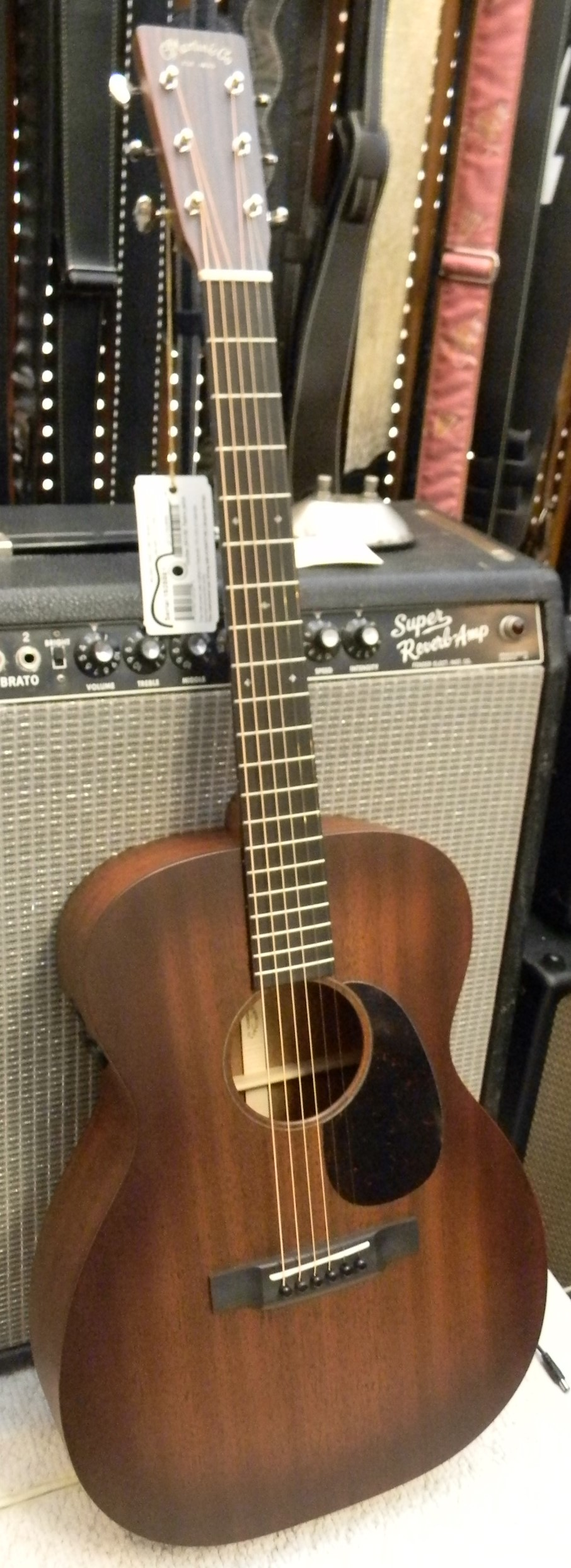 00-15E Retro. All solid mahogany with with vintage burst and Fishman Aura electronics. $2,049.00