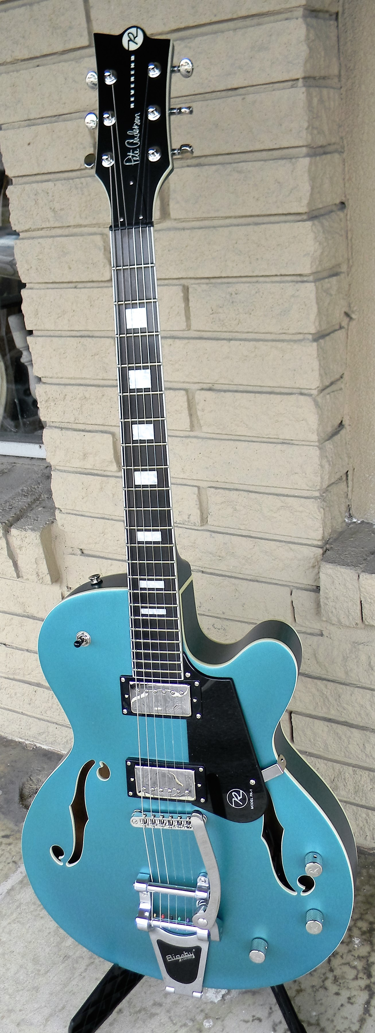 Pete Anderson HB1 Custom with Bigsby. A hollow body that you truly rock with. $1,499.00