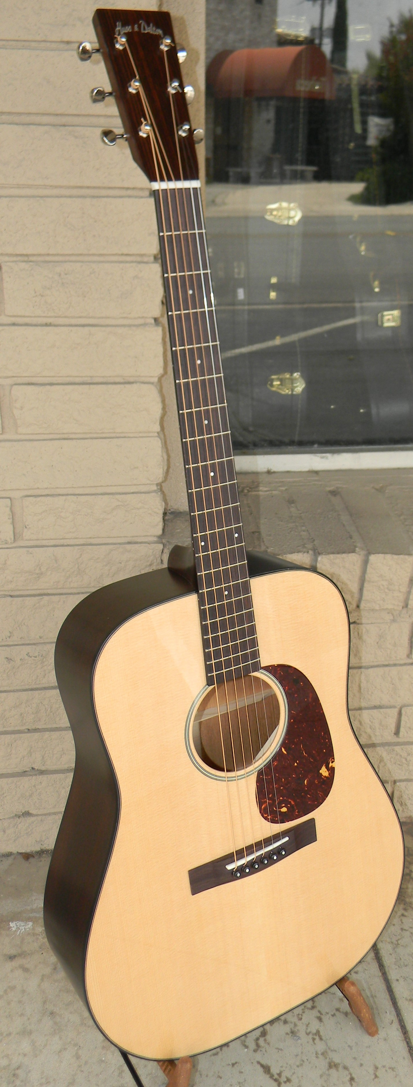 """RD-M. Huss & Dalton's new limted run on their """"Road Edition"""" guitars. These are modestly appointed with less detail, but no less attention to detail in making an exquisite guitar that's more affordable. Solid Sitka spruce and mahogany with rosewood bridge and fingerboard, gloss top. $2,750.00"""